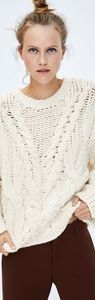 Nwt Zara Braided Cable Knit Sweater